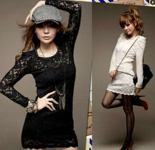 Women Sexy Lace Hollow carved Slim Dress Long Sleeve Girls Skirt #4995