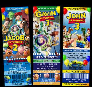 Toy Story Birthday Ticket Invitations Party Jessie Buzz Woody Gang