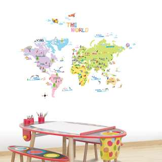 World Map Kids Room Vinyl Decals Wall Stickers Decor