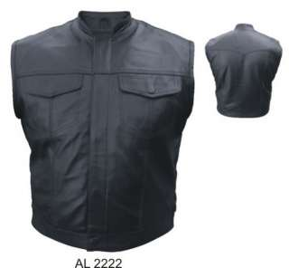 New Mens Outlaw Muscle Leather Motorcycle Biker Vest Sleeveless Jacket